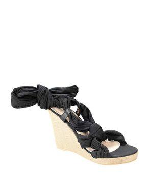 Vanessa's Secret Black Suede Ankle Wrap Wedge Sandal with Textile Ribbon logo