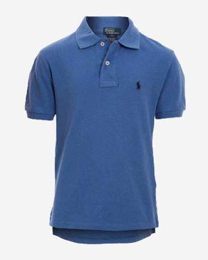Ralph Lauren Kids Blue Cotton Short Sleeves Dipped Hem Polo Shirt logo