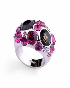 Dinardo Silver 18K Gold Plated Swarovski Ring with Purple Stones logo