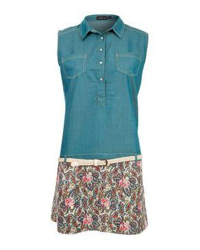 Wave Greenish Teal Cotton Drop Waist Dress with Additional Braided Belt logo