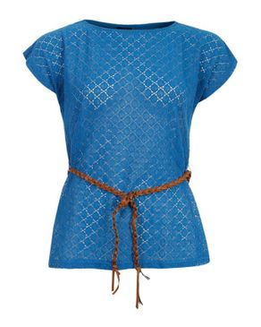 Wave Blue Polyester Circles Top with Front Sheer Fabric with Additional Braided Belt logo