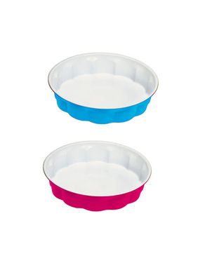 BIALETTI Aeternum Happy Color Tart Mould Set of Two - Blue and Pink - 27 cm