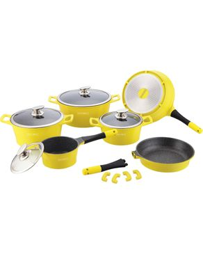 Royalty Line Switzerland Marble Coating Cookware Set - 14 Pieces - Yellow