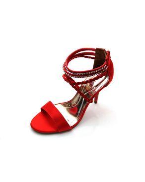Viamarte Ladies/Women Genuine Leather Heeled Sandals with Braided Strap & Strass-9790 Red logo