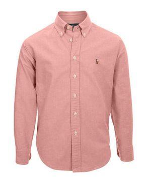 Ralph Lauren Kids Baby Pink Cotton Oxford Shirt with Pony Player Logo logo