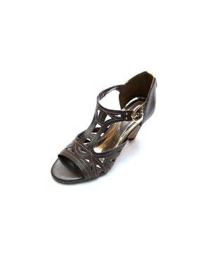 Viamarte Ladies/Women Genuine Leather Cut Out Heeled Sandals-9815-Dark Brown logo