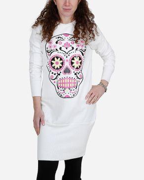 Be Positive Skull Print Long Sweatshirt - Off White logo