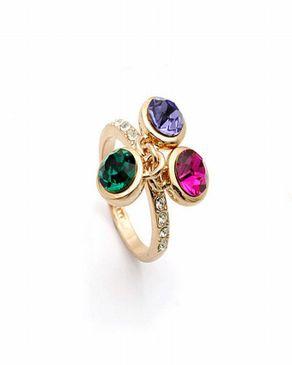 Dinardo 18K Gold Plated Swarovski Ring with Colorful Stones logo