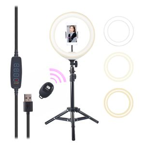 USB 10 Inch Dimmable LED Self-filling Selfie Light Ring Light 10 Brightness