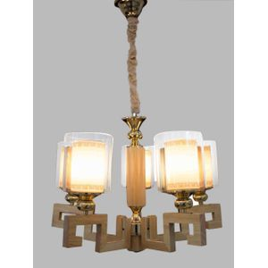 Wooden Chandelier With Double Glass Shade - Gold - 5  Lamps