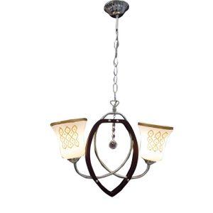 J364-2 Wooden Ceiling Pendant - 2 Lamps - Dark Brown