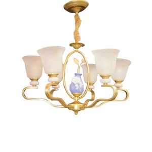 Chandelier With Baby Blue Center Rod With Artificial Marble - 6 Lamps - Gold