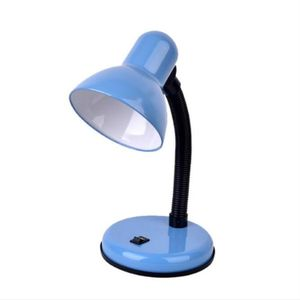 Vintage Iron LED Desk Lamp Push Button Switch Eye Protection Reading Led Light Table Lamps(Blue)