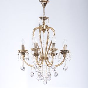 Metal Chandelier With Gold Water Paint - 6 Arms - Gold