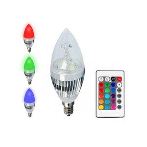 لمبة الليد الشمعة بالريموت تضئ النور الأبيض و 16 لون - 7 وات -  قاعدة قلاووز نجفة