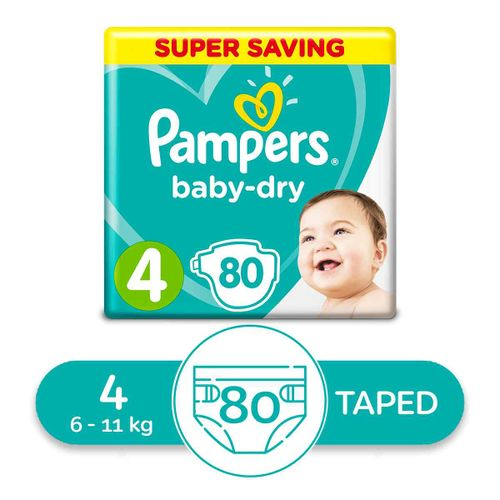 Baby Dry Maxi Diapers - Size 4 - 80 Pcs