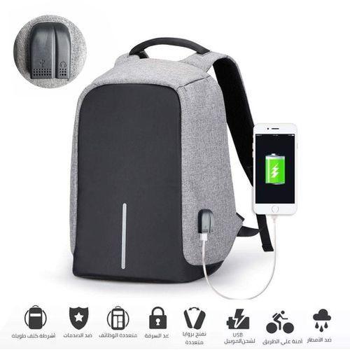 Generic حقيبة سفر مضادة للماء مضاد للسرقة تصميم منفذ USB + Aux - اسود / رمادي
