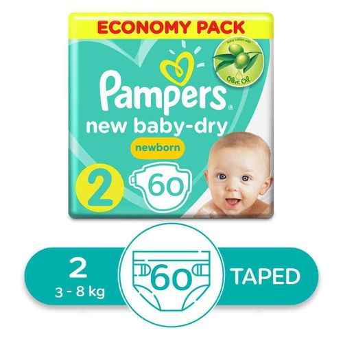 Baby Dry Diapers - Size 2 - 60 Pcs