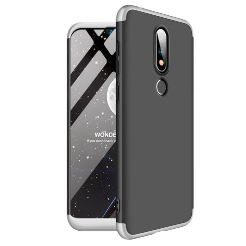 Nokia 6.1 Plus/Nokia X6 3 In 1 Hard PC Case - Black With Silver