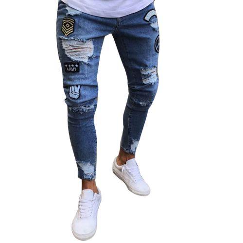 Mens Skinny Slim Fit Ripped Biker Pants Zipper Distressed Ripped Denim Jeans