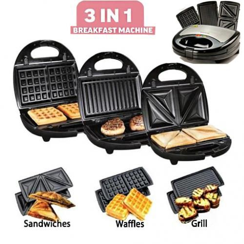 3 In 1 Sandwich And Waffle Maker With Non-Stick Grill Plates