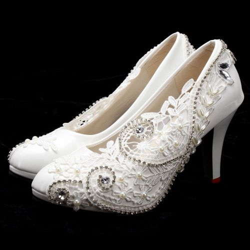 Fashion Women Lace Bead Crystal Wedding Shoes Bridal Bridesmaid