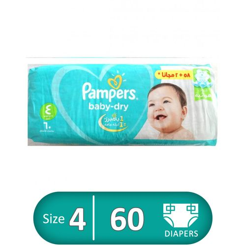 Baby Dry Diapers - Size 4 - 60 Pcs