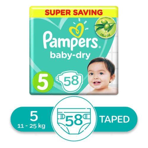 Baby Dry Diapers - Size 5 – 58 Pcs