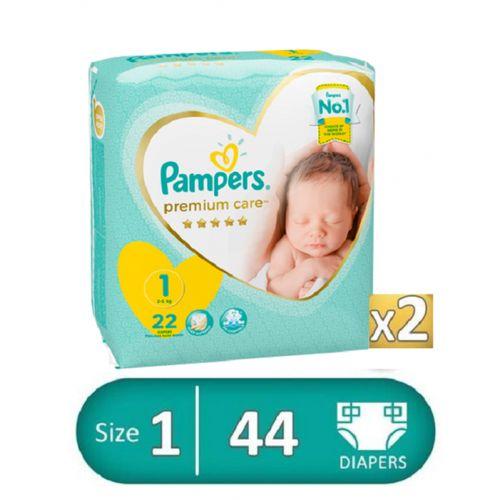 Premium Care Diapers - Size 1 - 2 Packs - 44 Pcs