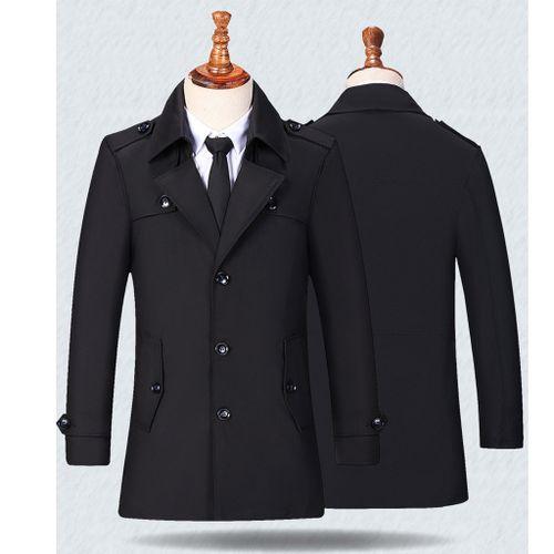 Generic Hiamok Men's Casual Trench Coat Fashion Business Long Slim Overcoat Jacket Outwear