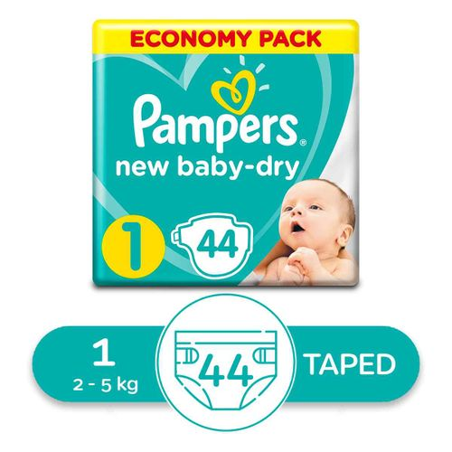 Baby Dry Diapers - Size 1 - 44 Pcs