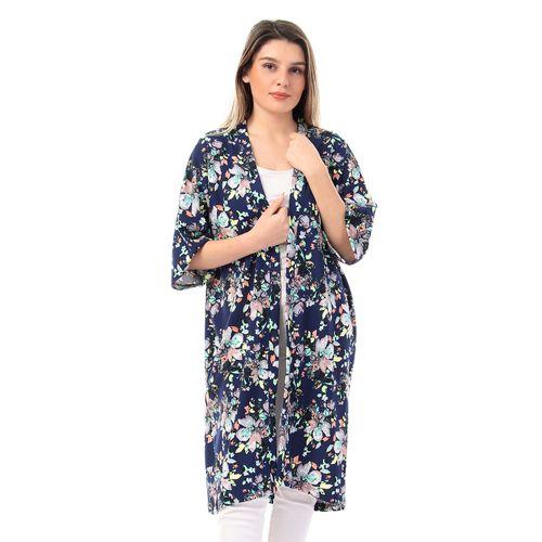 Open Neckline Floral Kimono - Navy Blue