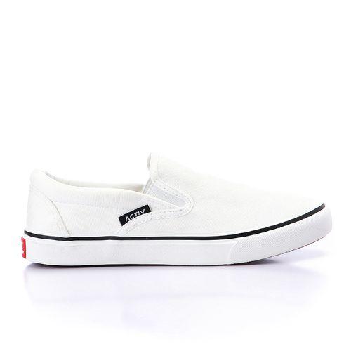 حذاء بدون رباط قماشي - ابيض