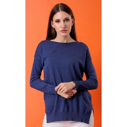 Hi-Low Basic Knitted Dark Blue Basic Pullover