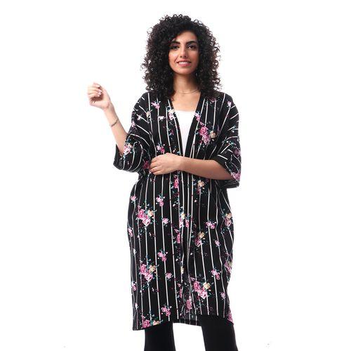 Floral Stripe Half Sleeves Kimono - Black