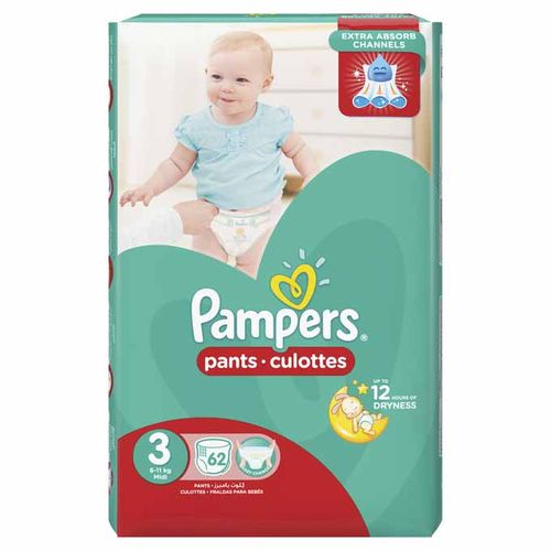 Baby Pants Diapers - Size 3 - 62 Pcs