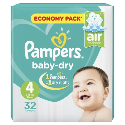Baby Dry Diapers - Size 4 - 32 Pcs