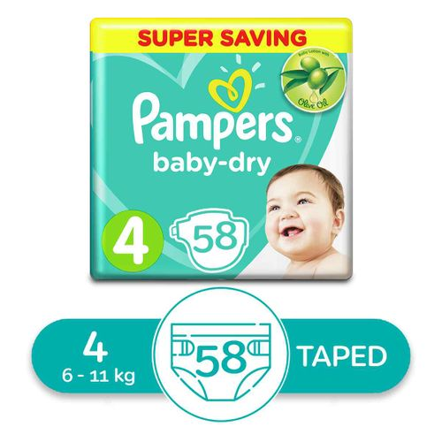 Baby Dry Diapers - Size 4 - 58 Pcs