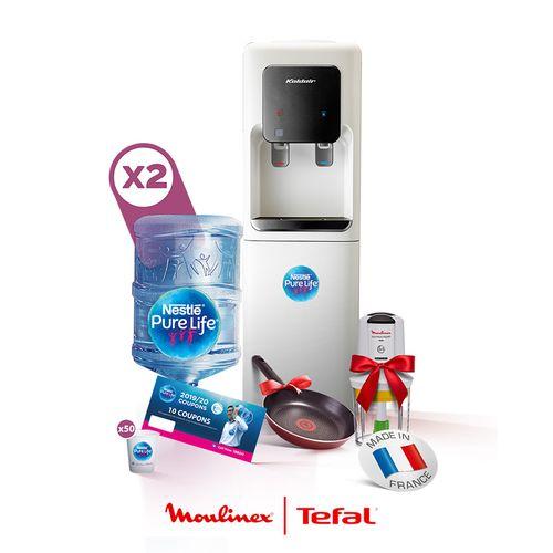 Koldair Hot & Cold Water Dispenser + 2 Empty 18.9L Bottles + 10 Refill Coupons + Moulinex Chopper + Tefal pan