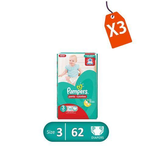 Pants Diapers - Size 3 - Midi - 62 Pcs - 3 Packs