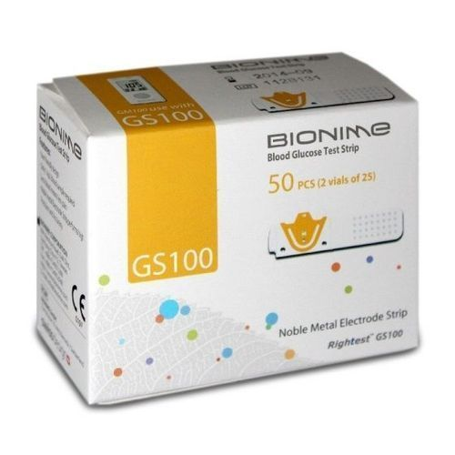 GS 100 Blood Glucose Test Strips - 50 Pcs