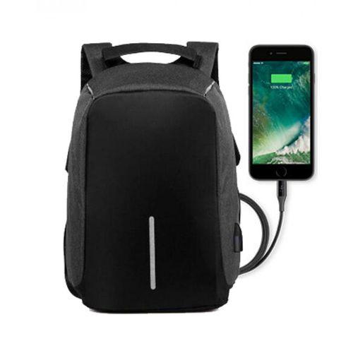 Generic Anti-theft Travel Laptop Backpack - Waterproof USB Charging Port - Black/Dark Gray