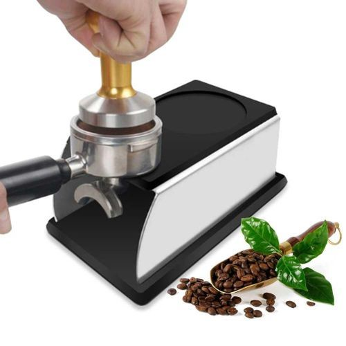 product_image_name-Generic-Coffee Temper Stand, DLAND Sturdy Stainless Steel Tamping Stand For Coffee Machine And Coffee Tamper Storage Base With Mat Hand Coffee Tampers Accessories (Black)-1