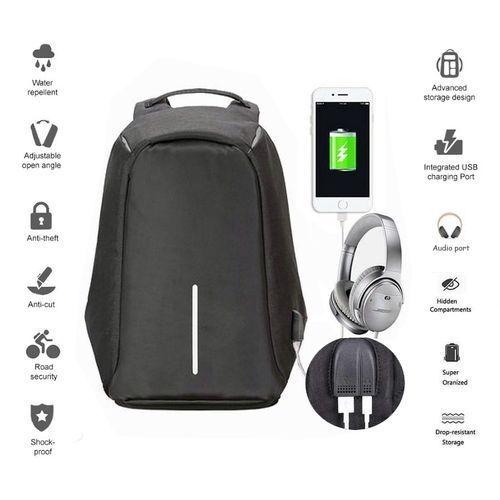 Generic حقيبة سفر مضادة للماء مضاد للسرقة تصميم منفذ USB + Aux - اسود