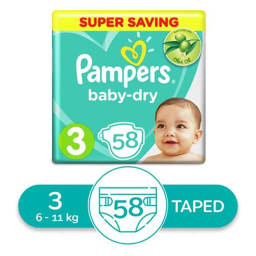 Baby Dry Diapers - Size 3 - 58 Pcs