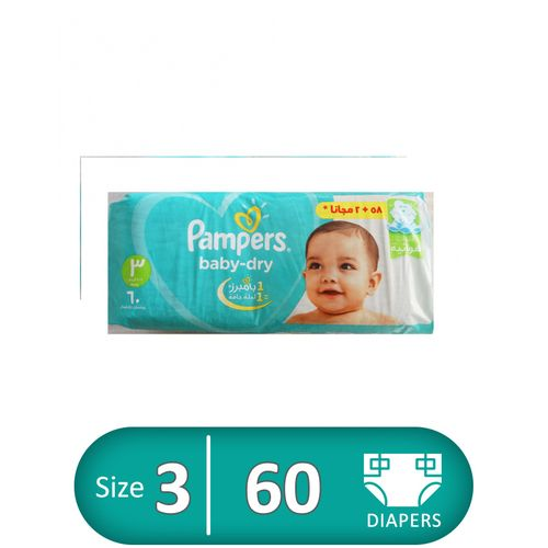 Baby Dry Diapers - Size 3 - 60 Pcs