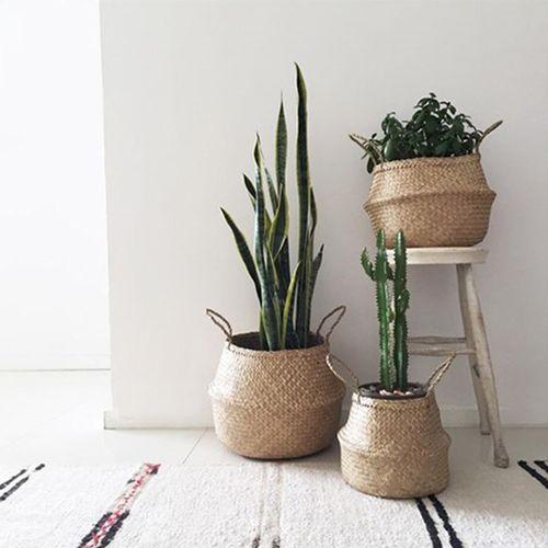 Foldable Seagrass Belly Basket Storage Plant Pot Handwove Laundry Bag Room Decor