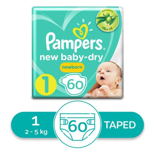 Baby Dry Diapers - Size 1 - 60 Pcs