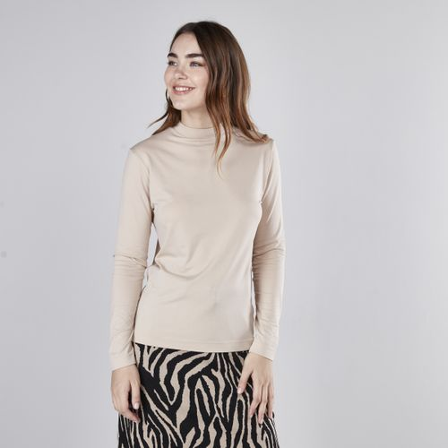 Slim Fit Plain T-Shirt With High Neck And Long Sleeves - Light Brown