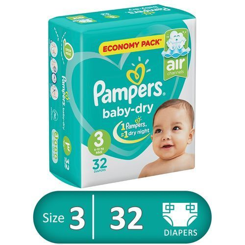 Baby Dry Diapers - Size 3 - 32 Pcs
